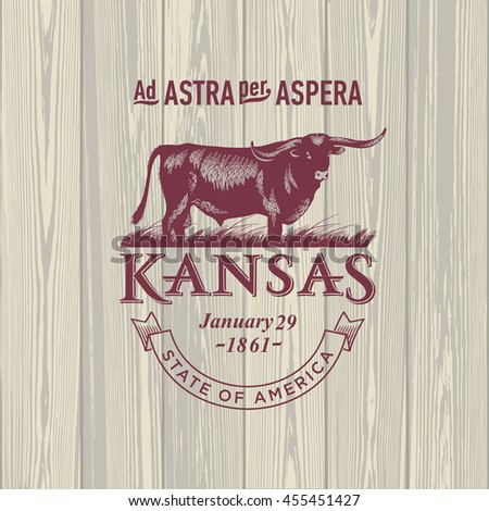 Kansas Through the thorns to the stars, stylized emblem of the state of America, bull, wooden background