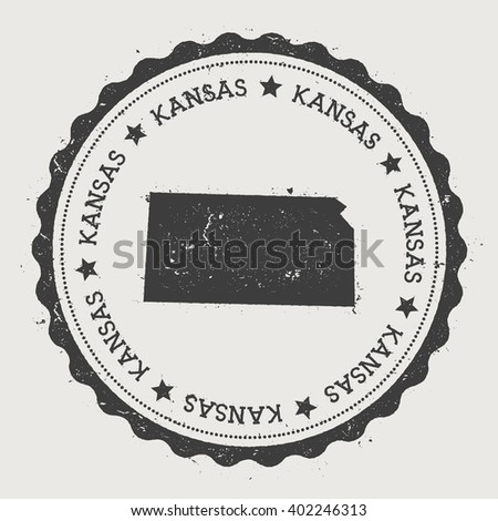 Kansas Vector Sticker Hipster Round Rubber Stamp With Us State Map Vintage Passport Stamp