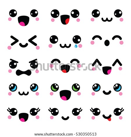 Kawaii cute faces, Kawaii emoticons, adorable characters icons design