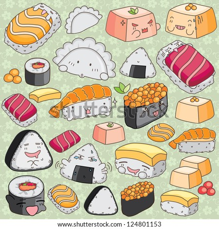 Kawaii japanese cuisine clip art stock vector for Decoration cuisine kawaii