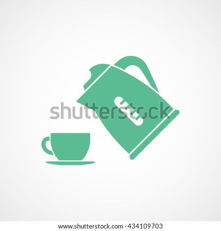 Kettle and Cup Green Icon On White Background