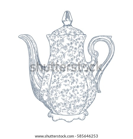 tea kettle coloring page - teapot coloring page adults zentangle style stock vector