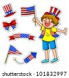 kid celebrating  fourth of july, plus matching icons for decoration - stock vector