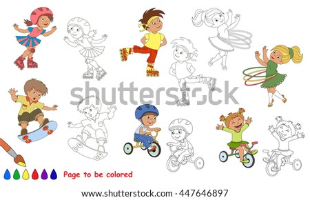 Kid Summer Sports To Be Colored Coloring Book Educate Kids Learn Colors