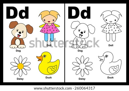 kids alphabet coloring book page with outlined clip arts to color letter d - Alphabet Coloring Book