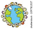Kids around the world together save the planet earth - stock photo