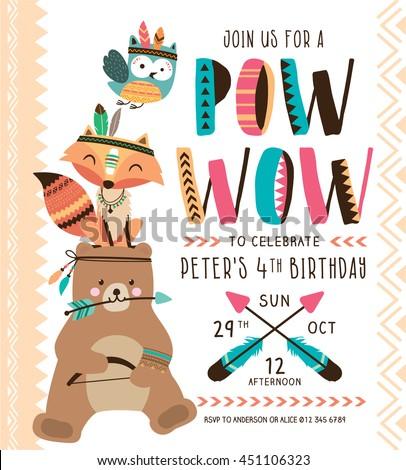 Kids Birthday Party Invitation Card Cartoon Vector 451109647 – Cards Party Invitation