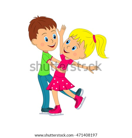 kids,boy and girl dance on the skating, illustration, vector