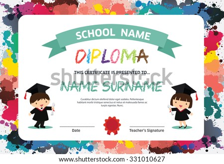 Primary School Kids Diploma Certificate Background Vector – Kids Certificate Templates