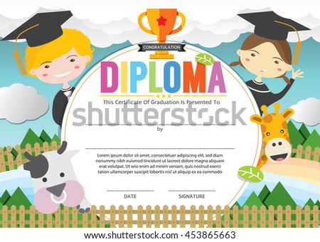 Kids diploma certificate background design template kids diploma certificate template vector illustration yelopaper Choice Image