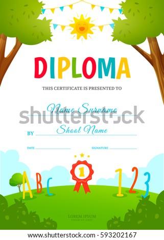 Colorful kids summer camp diploma certificate stock vector kids diploma design template kindergarten certificate vector illustration yadclub Gallery