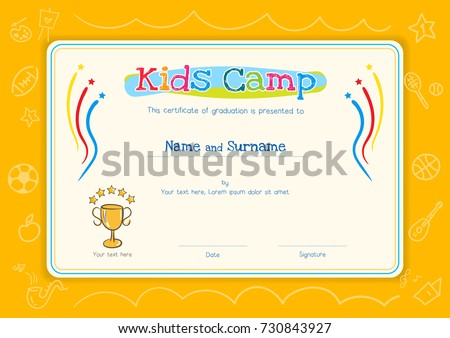 Colorful kids certificate template portrait children stock vector kids diploma or certificate template for kids camp with hand drawing cartoon style background yadclub Choice Image