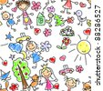 kids drawing seamless pattern - stock photo