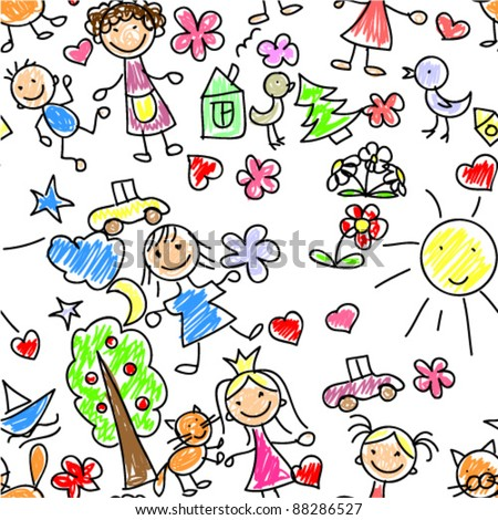 Kids Drawing Seamless Pattern Stock Vector 88286527 Shutterstock