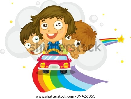 Kids driving on a rainbow
