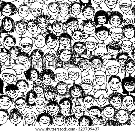 Kids - Hand drawn seamless pattern with cute faces of children from diverse cultural / ethnic backgrounds - in black and white