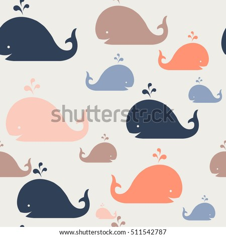 Kids pattern. Seamles vector pattern. Vector background with whales. Sea pattern.