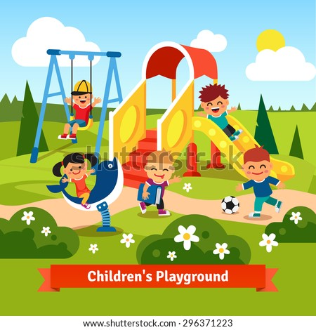 kids playing on playground swinging and sliding children flat style vector cartoon illustration