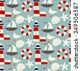 Kids vector seamless pattern with lighthouses, seashells, seagulls on blue background. Cute childish Vector background. - stock vector