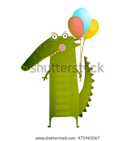 Kids Watercolor Style Crocodile with Balloons Colorful Cartoon. Happy fun watercolor style animal congratulation for children cartoon illustration. Vector drawing.