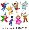 kids with different costumes - stock vector