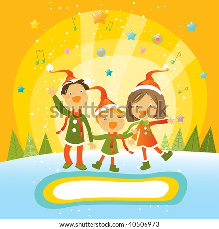 Winter scene kids making snowman snowy stock vector for Make your own singing christmas card