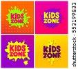 Kids Zone banner design set. Children Playground. Colorful logos. Vector illustration.