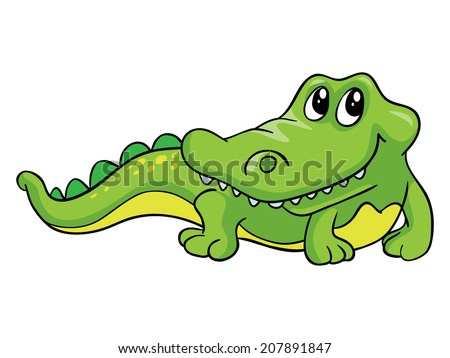 Kind crocodile, vector illustration on white background