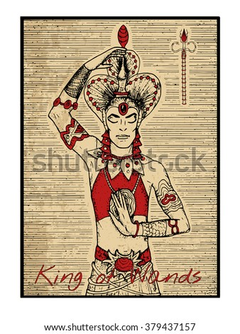 King of wands in red. The minor arcana tarot card, vintage hand drawn engraved illustration with mystic symbols. Half-body portrait of handsome man or asian dancer