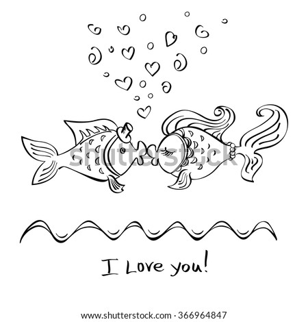 fishes kissing coloring pages - photo#18