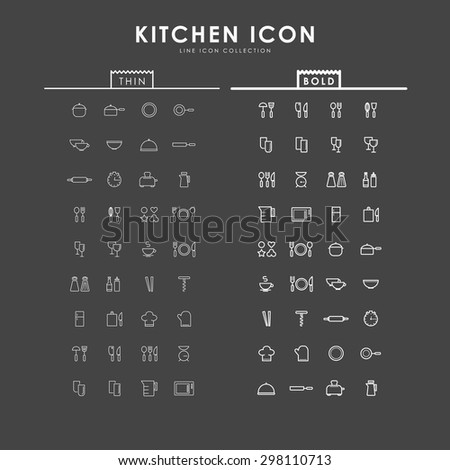 kitchen-accessories-bold-and-thin-line-icons