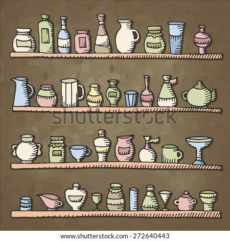 Seamless vintage background doodle sketch kitchen stock for Kitchen set drawing