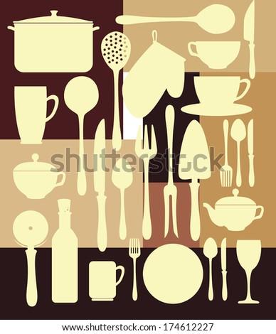 Seamless kitchen background stock vector 141897355 for Kitchen design vector
