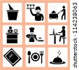 kitchen icon set, food and drink icon set - stock vector