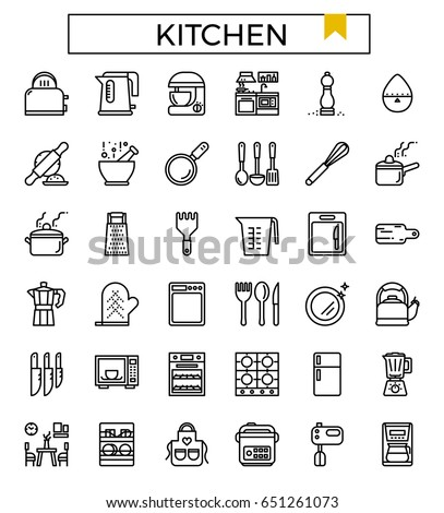 Kitchen Icon Vector Illustration Flat Design Line Icons Set For Ui, Ux, Web, Part 74