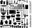 Kitchen tool collection - vector silhouette - stock photo