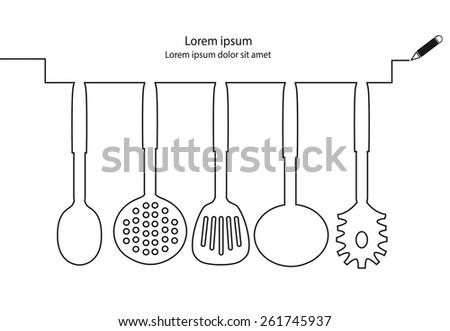 Kitchen Utensils Line Design Vector
