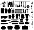 Kitchen Utensils Silhouette Vector - stock vector