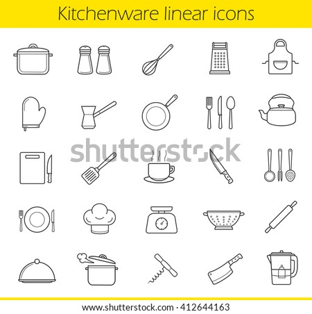 Restaurant Kitchenware set 24 kitchen items gray vector stock vector 422253745 - shutterstock