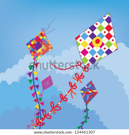 Kites in the sky funny background