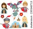 Knight, princess and dragon vector illustration - stock vector