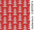 Knitted Christmas or New Year background with silver pine or fir trees on red, plus seamless pattern included in swatch palette (pattern fill expanded). For high res JPEG or TIFF see image 118095877 - stock vector