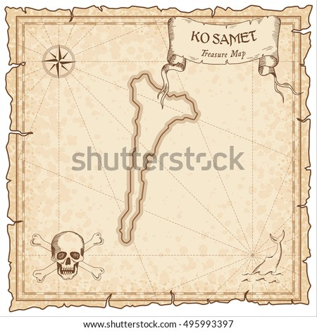 Ko Samet old pirate map. Sepia engraved parchment template of treasure island. Stylized manuscript on vintage paper.