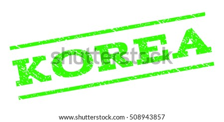 Korea watermark stamp. Text caption between parallel lines with grunge design style. Rubber seal stamp with unclean texture. Vector light green color ink imprint on a white background.