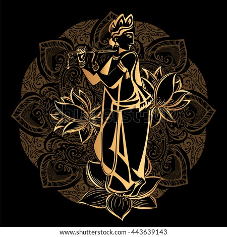 Krishna Janmashtami Hindu Festival Hare Krishnas Stock Vector 443639167 - Shutterstock