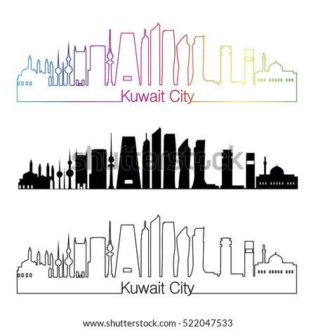 Kuwait City skyline linear style with rainbow in editable vector file