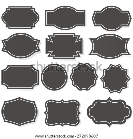 Set Simple Frames Collection Label Shapes Stock Vector 308864792 ...
