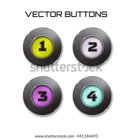 label. Vector modern black web buttons set with color surfise inside. one two three four 1 2 3 4 options