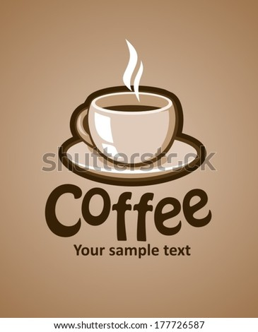 Label with coffee cup, vector illustration