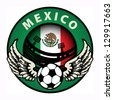 Label with football and name Mexico, vector illustration - stock photo